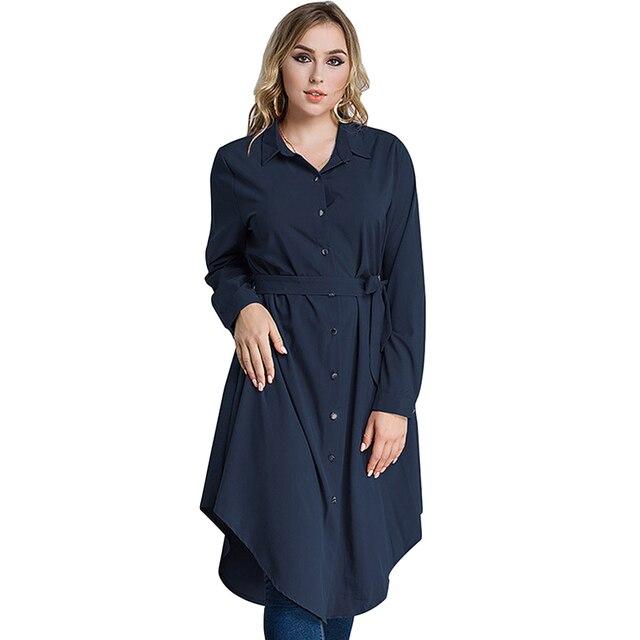 fc579e15fb92b2 Nieuwe Mode Vrouwen Plus Size Shirt Jurk Lange Mouw Onregelmatige Zoom  Belted Solid Casual Tuniek Lange