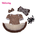 2016 Newborn Baby Girl Dress Summer Clothing Sets Original 100% Cotton Leopard Shortsleeve Rompers Infant Girls Clothes