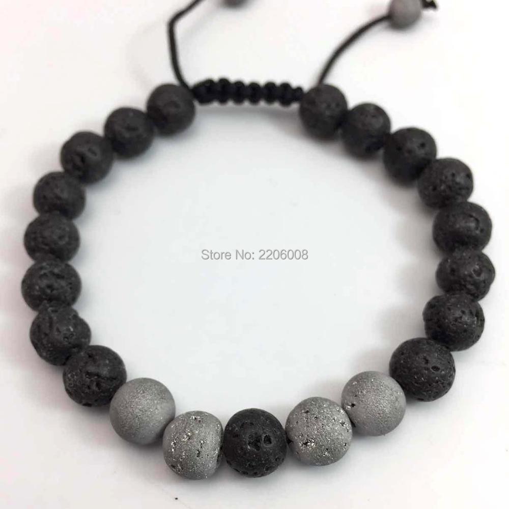 2017 8mm lava stone tiger eyes SPAR Bracelet With Natural Black Lava Rock Stone Energy Men Beaded Bracelets For Women