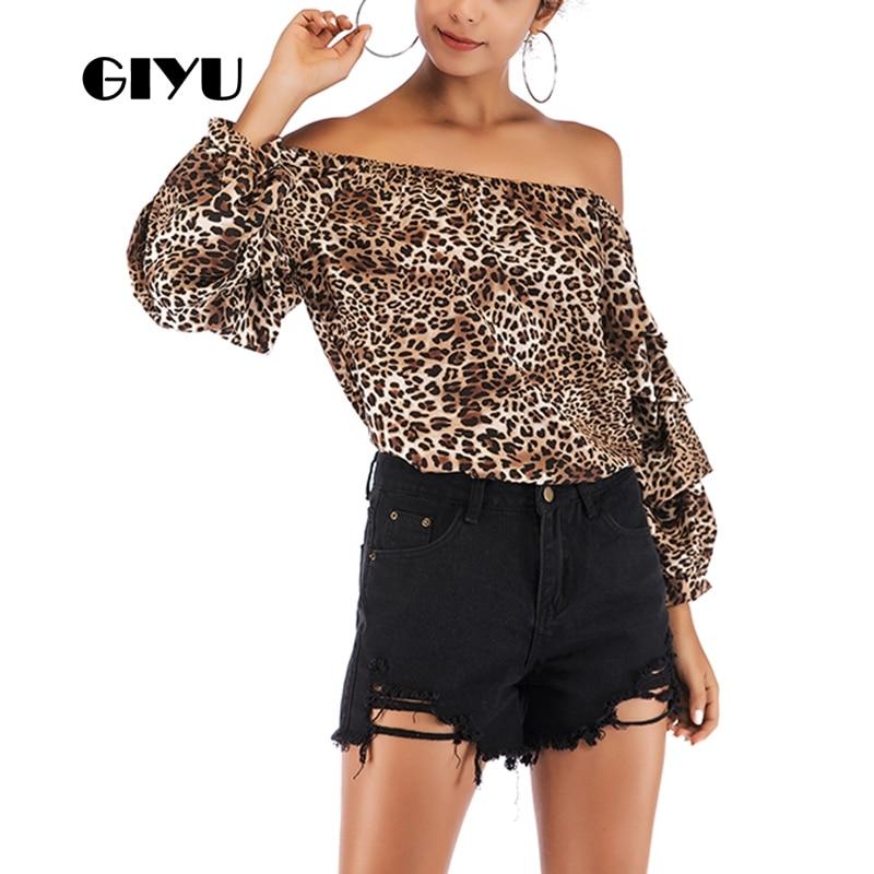 GIYU Leopard Printing T Shirt Women Slash Neck Long Sleeve Tee Sexy Cold Shoulder Tshirts Casual Tops Female 2019 Camiseta Mujer