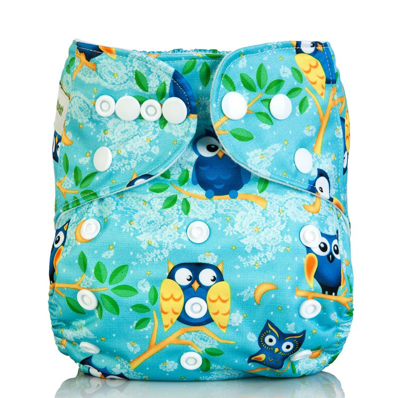 [Mumsbest] Washable Baby Cloth Diaper Cover Waterproof Cartoon Owl Baby Diapers Reusable Cloth Nappy