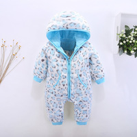 New Autumn Winter Baby Rompers Flannel Baby Boy Girl Clothes Leopard Design Warm Newborn Infant Romper
