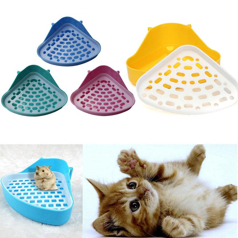 high qulity pet cat rabbit pee toilet small animal hamster guinea pig litter tray corner pet litter training tray - Cat Litter Reviews