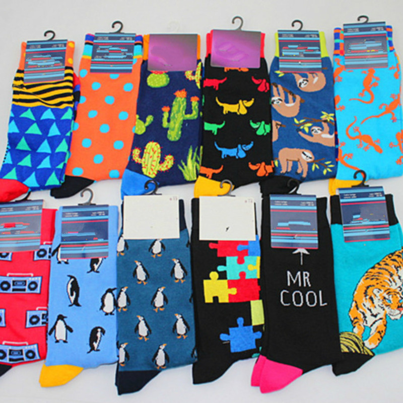 Cute Cartoon Dog Penguin Tiger Koala Geometric Polka Dot Jacquard Personality Collide Color Happy Men Funny Casual Cotton   Sock