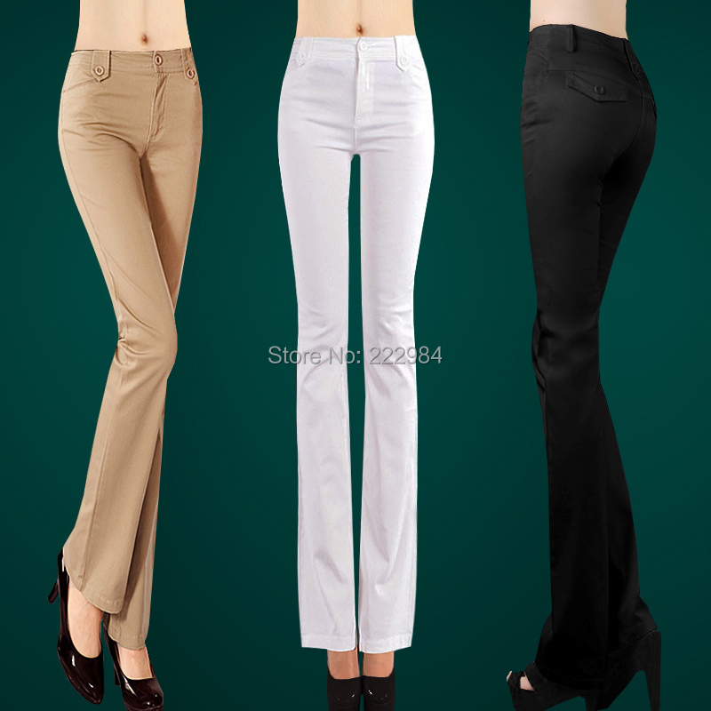2019 spring autumn women's white casual pants female plus size boot cut trousers Miniature female flare trousers pants clothing