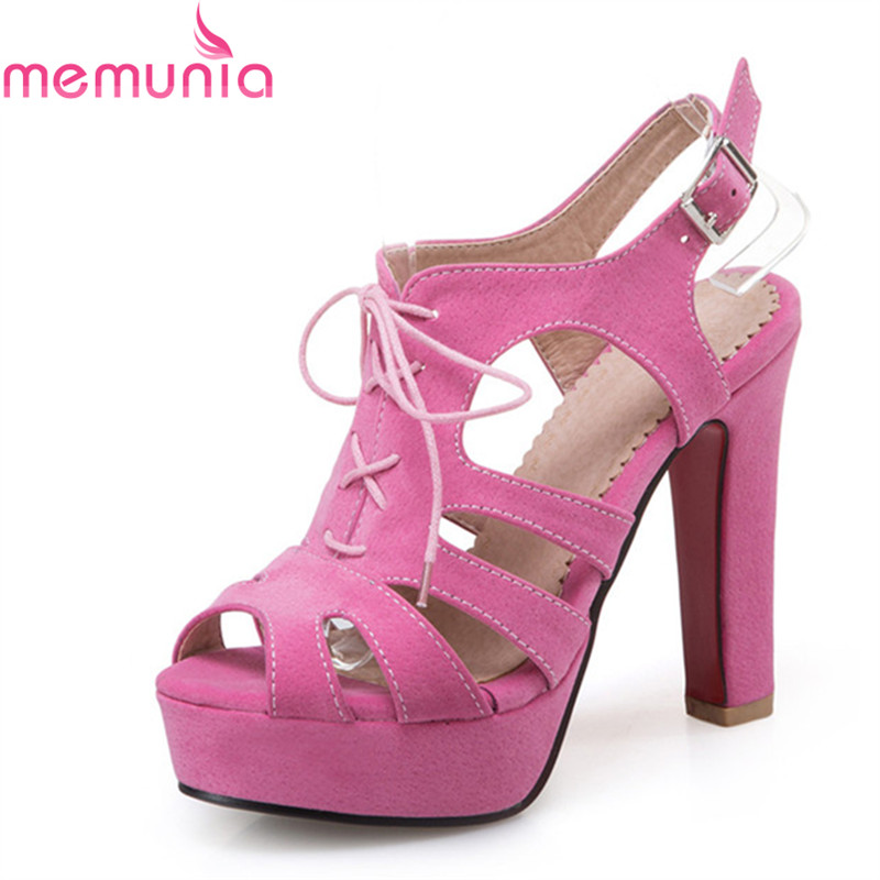 MEMUNIA  hot sale high heels sandals Women fashion simple lace up buckle heels summer new arrival big size 34-43 shoes memunia new arrive hot sale genuine