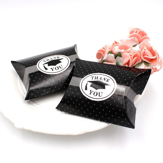 Dotted Black Wedding Favor Box Party Candy Bo Gift For Graduation Pillow Shape Thank