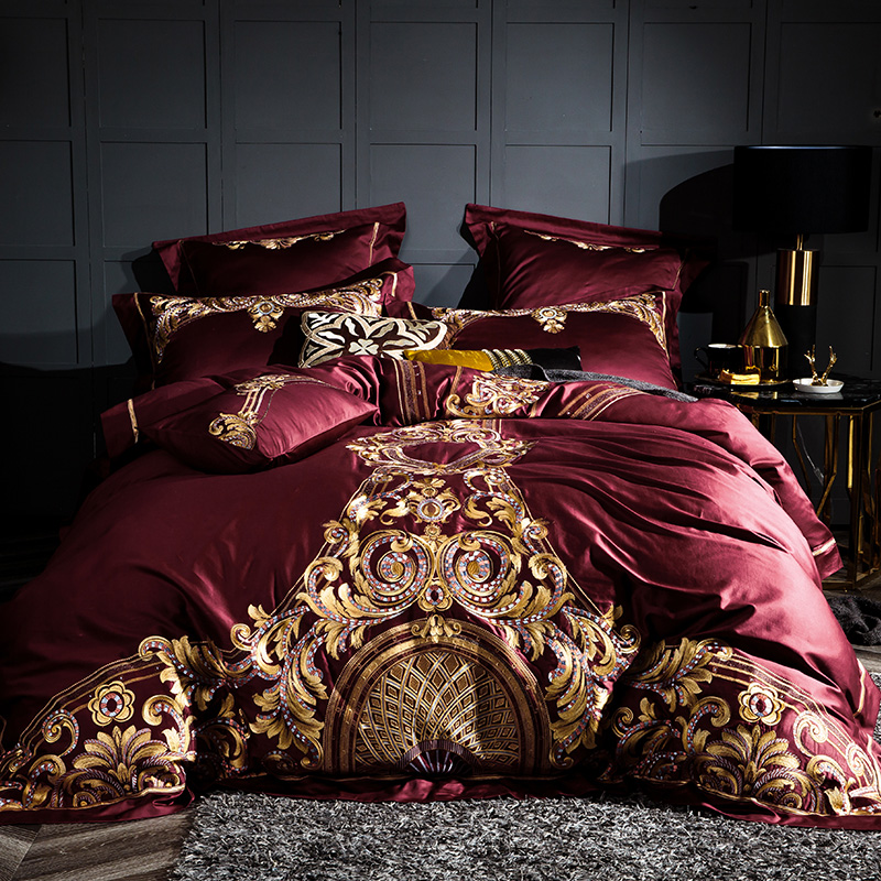 Wine Red Luxury 100S/1000TC Egyptian Cotton Gold Royal Embroidery Palace Bedding Set Duvet Cover Bed Sheet/Linen Pillowcases