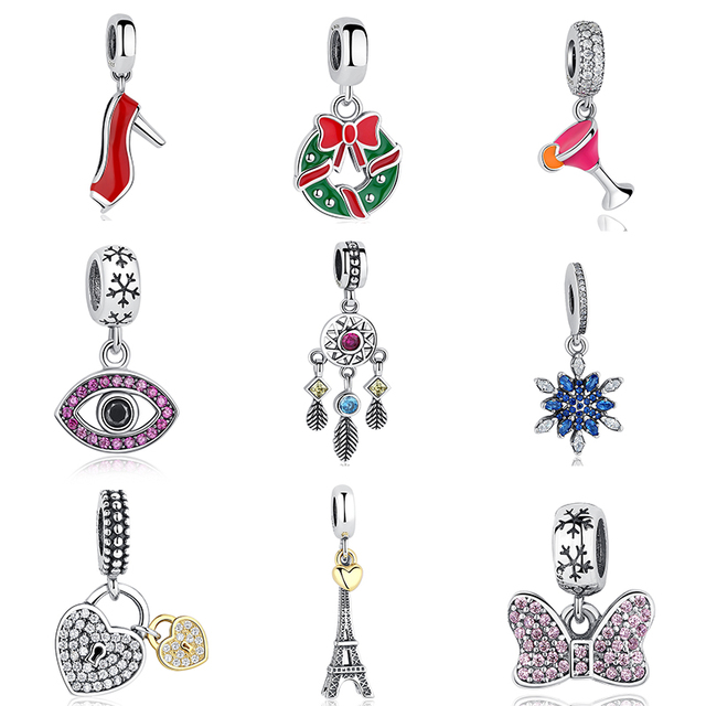 c5e65450bdd33 US $4.99 44% OFF|Fashion Eiffel Tower Charm fit Pandora 925 Sterling Silver  Original Clear CZ Snowflake Bow Heart Pendant Charms DIY Jewelry-in Beads  ...