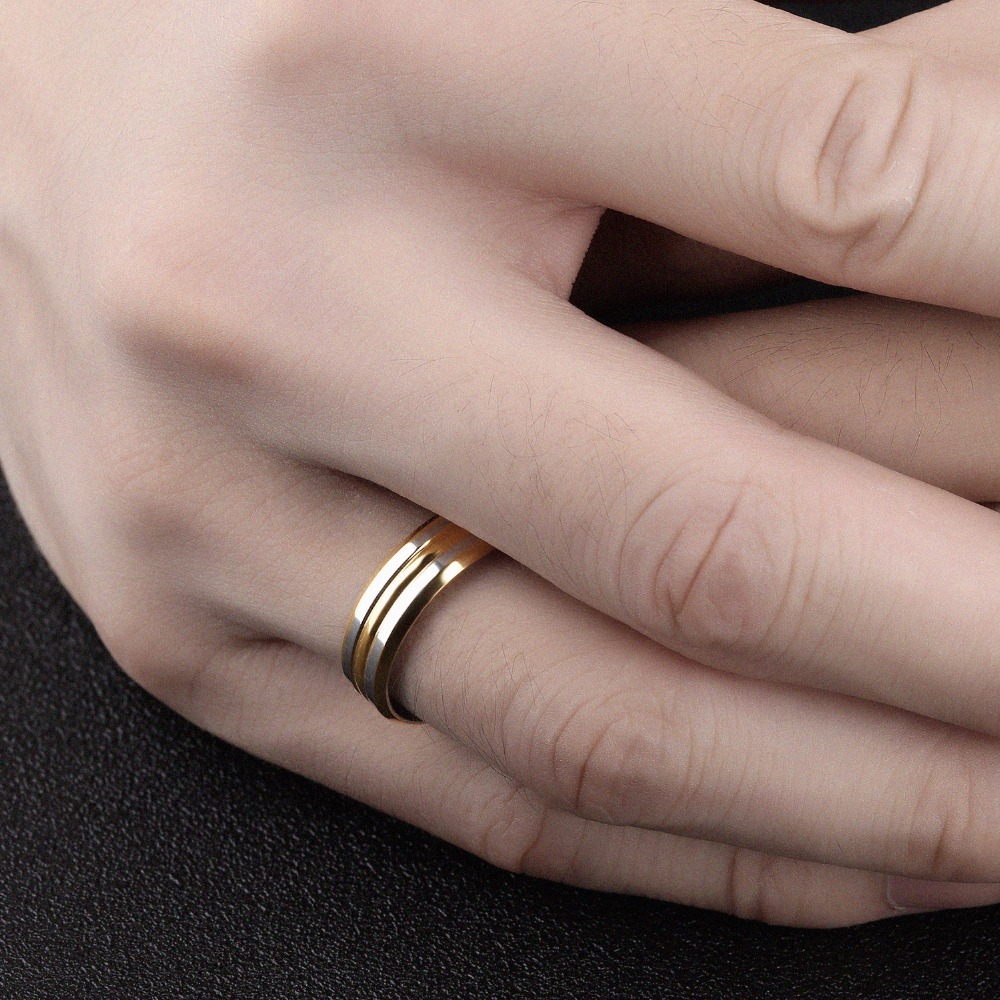 6mm Two Tone Stripes Beveled Edges Wedding Rings in Stainless Steel ...