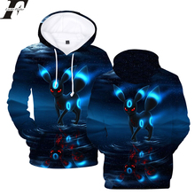 2019 Hot Pokemon Umbreon New Fashion 3D Print Hoodie Anime Spring Sweatshirts Casual Men/Women Hoodies Men Plus size 4XL