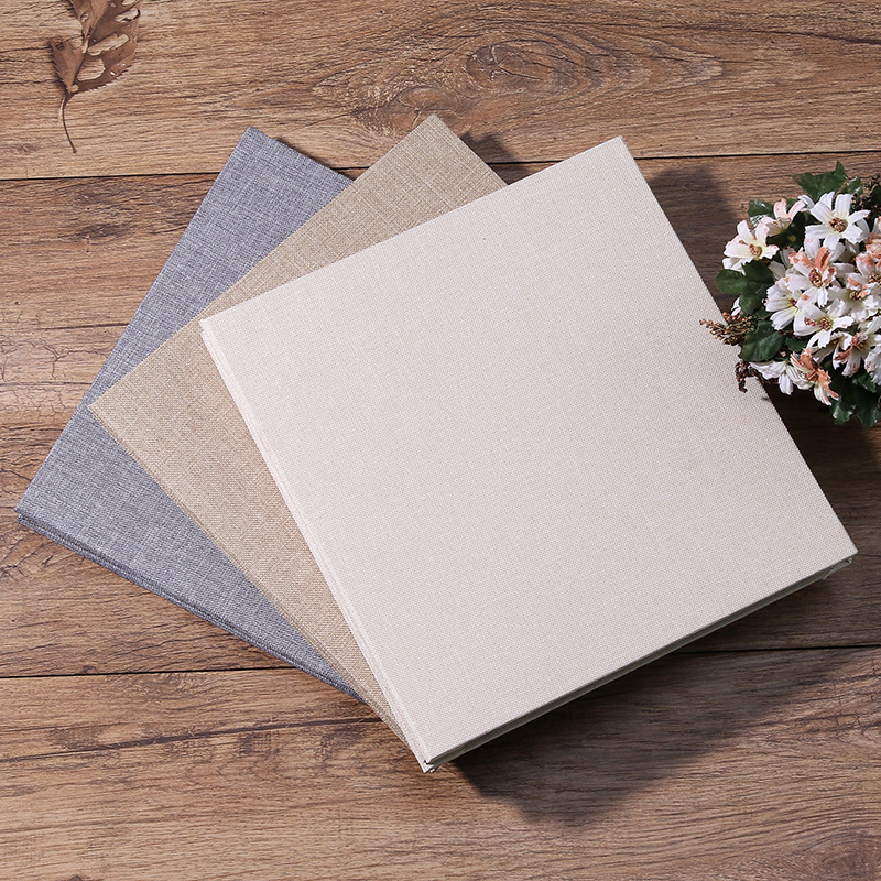 New Linen Self-Adhesive Film DIY Cheap Photo Album Wedding Album Retro Family Large-Capacity Photo Album Handmade Creative Gifts
