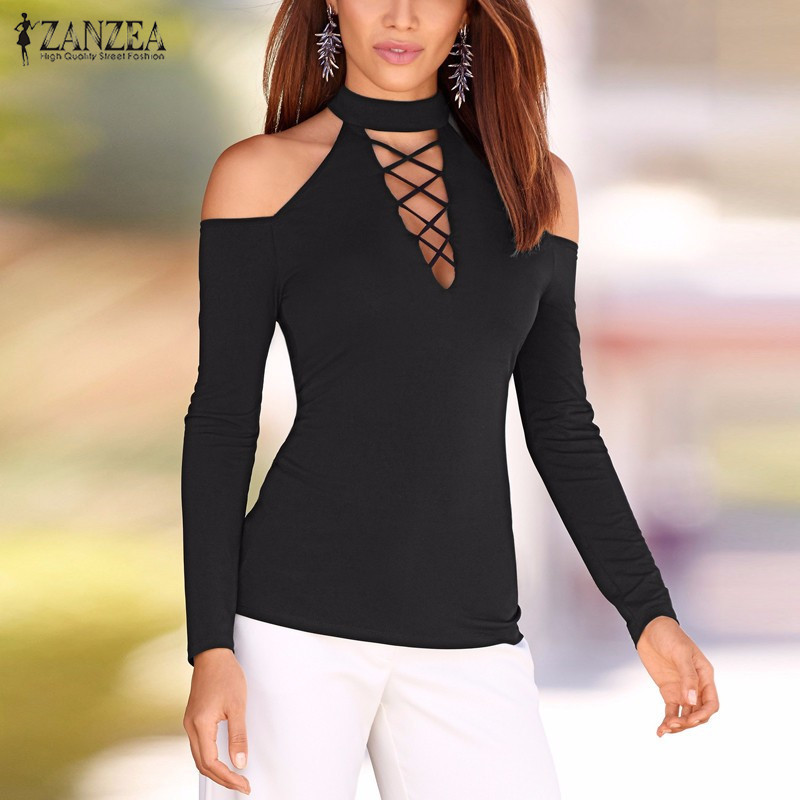 ZANZEA Women Blouses 2019 Autumn Sexy Lace Up Off Shoulder Blusas Long Sleeve Shirts Hollow Out Casual Tops Plus Size S-5XL