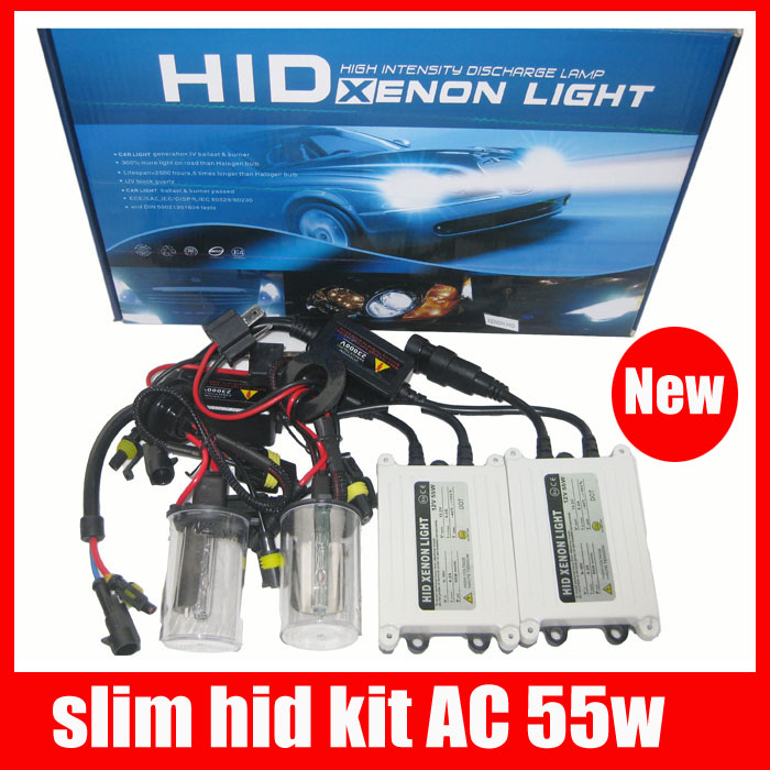 Car headlight AC hid xenon kit slim ballast  h1 h3 h4 h7 h8 h9 h10 h11 9005 9006 hb3 hb4 h27 12v 55w hid conversion kit