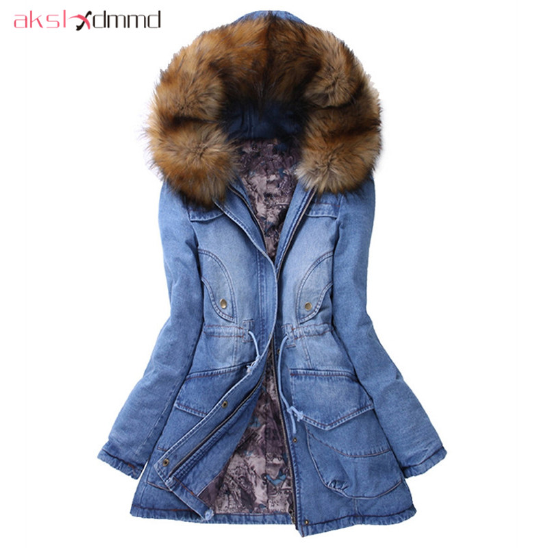 AKSLXDMMD Denim Jacket Women 2017 New Autumn and Winter Fur Collar Hooded Denim Coat Thick Padded Overcoat Parkas Mujer LH1131 akslxdmmd women winter jacket 2017 new female jacekt fashion hooded printed letters thick padded woman coat parkas mujer lh1066