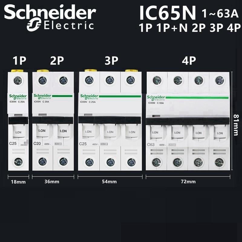 Schneider цепи автоматический воздушный выключатель IC65N C25 1P+ N C20A Американская классификация проводов 2р 3P C25A 3P C63A 4P 1A 2A 4A 6A 10A 16A 20A 25A 32A 40A 50A 63A