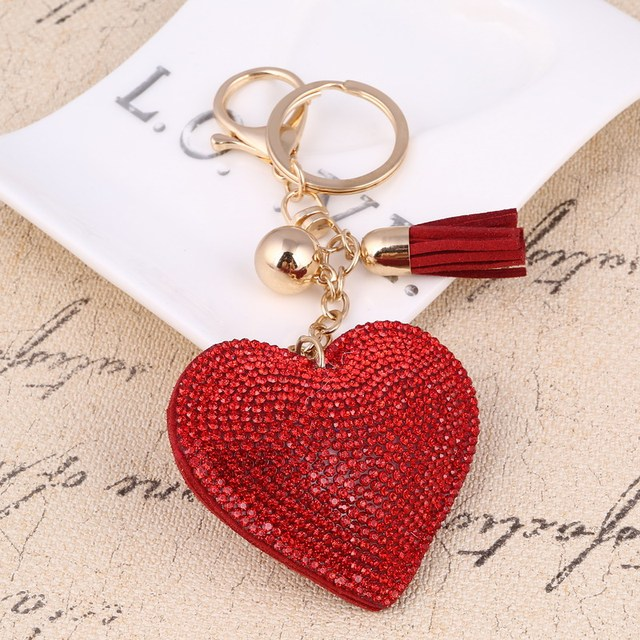 ZOSH Heart Keychain Leather Tassel Key Holder Metal Crystal Key Chain Keyring Charm Bag Auto Pendant Gift Wholesale Price 3