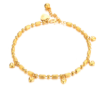 18K yellow gold Heart Beads Anklet  for Women Barefoot Sandals Anklet,wedding jewelry 2014 Fashion Foot Chain Jewelry,N725