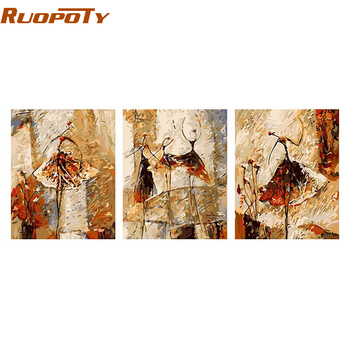 RUOPOTY 3panels Ballet Dancer Abstract DIY Painting By Numbers Handpainted Canvas Painting Unique Gift For Living Room Decor