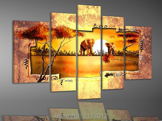 Лидер продаж Современные желтый дерево слон картина маслом на холсте Абстрактная 5 Панель Искусство установить Домашний Декор стены картин...
