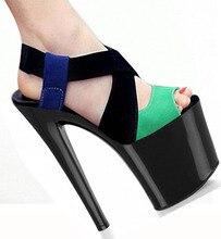 8 zoll Vogue frauen t-stadium Tanzen High Heel Sandalen partei hochzeit schuhe 20 cm farbblock schuhe sexy kleid schuhe