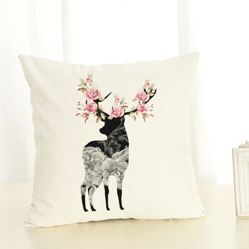 2017 Retro style high quality deer linen pillow decorated linen pad without filling