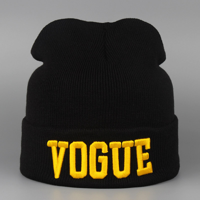 Autumn Winter Knitted Hats Female Embroidery VOGUE Warm Spor