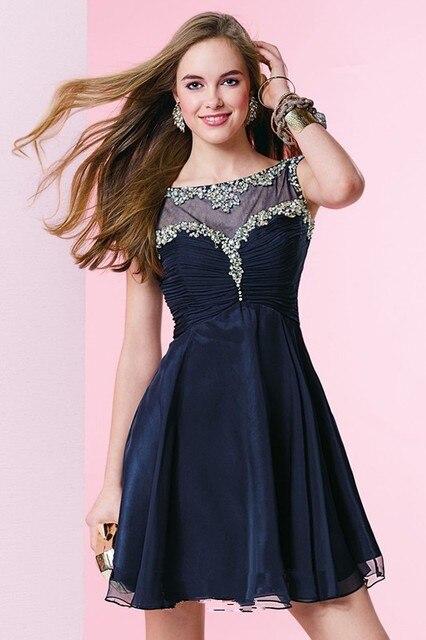 2c85530f8 Scoop Top escarpado con cuentas azules marinos Vestidos cóctel 2015 Vestido  De Festa Curto 15 Anos
