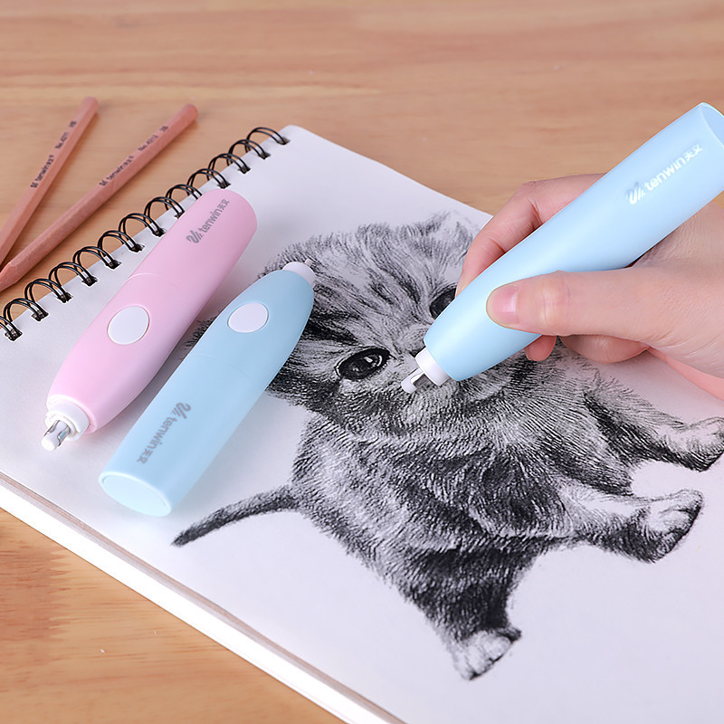 Cute Art Electric Eraser Stationery Mechanical Pencil Eraser Refill Kawaii Electronic Rubbers For Kids Office School Supplies
