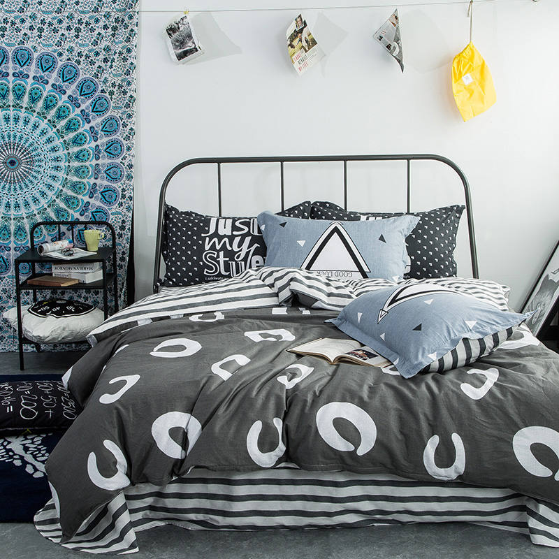 100 cotton dots white grey striped bedding sets queen full sizes geometric quilt comforter cover 45pc boys adult bed sheets