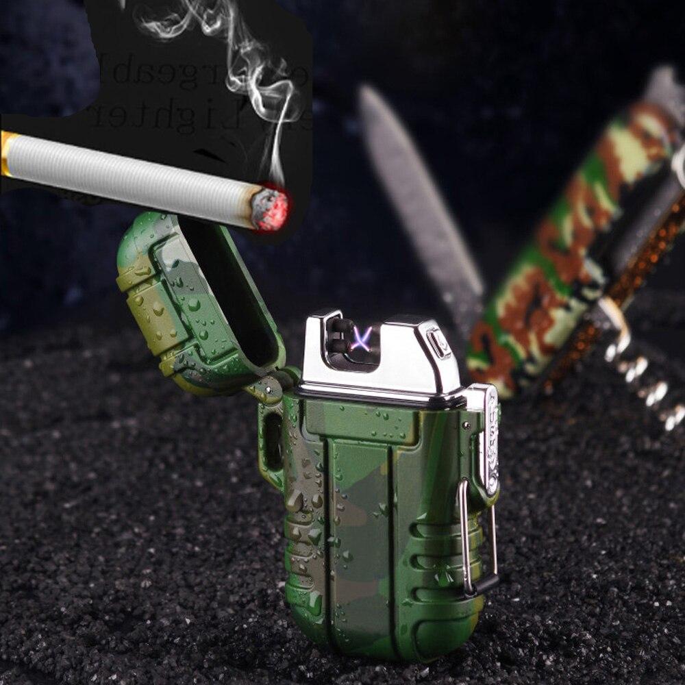 Wasserdichte USB Feuerzeug Für Zigarette Rauchen Mit Doppel ARC Leichter Für Out Door Camping Sport