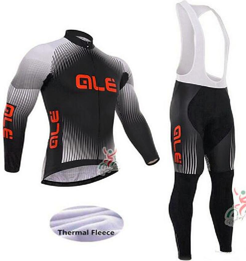 2018 Winter Hot Wool Pro Team Riding Suit Long Sleeve Bike Costume Ropa Ciclismo ALE Cycling Costume Set High Quality