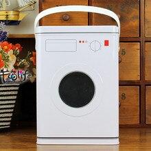 Дизайн стиральной машины железный ящик для хранения с ручкой металлический ящик для посуды стиральная комната подарочный контейнер Корпус белого цвета