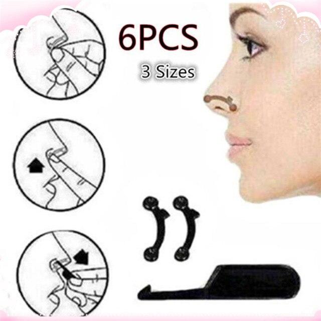 6PCS/Set 3 Sizes Beauty Nose Up Lifting Bridge Shaper Massage Tool No Pain Nose Shaping Clip Clipper Women Girl Massager 3