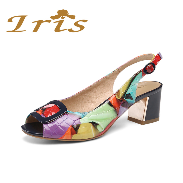 IRIS Women Sandals Medium Heel Open Toe Metal Dec Multi Color Genuine Leather Dress Shoes Woman Back Strap 2017 New Summer