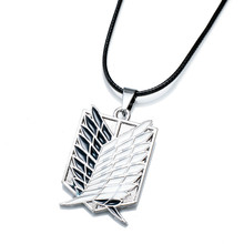 1pcs Metal Anime Attack on Titan Wings of Liberty Pendant Necklace Toys Action Figures Attack Kyojin Guard LOGO Cosplay Necklace