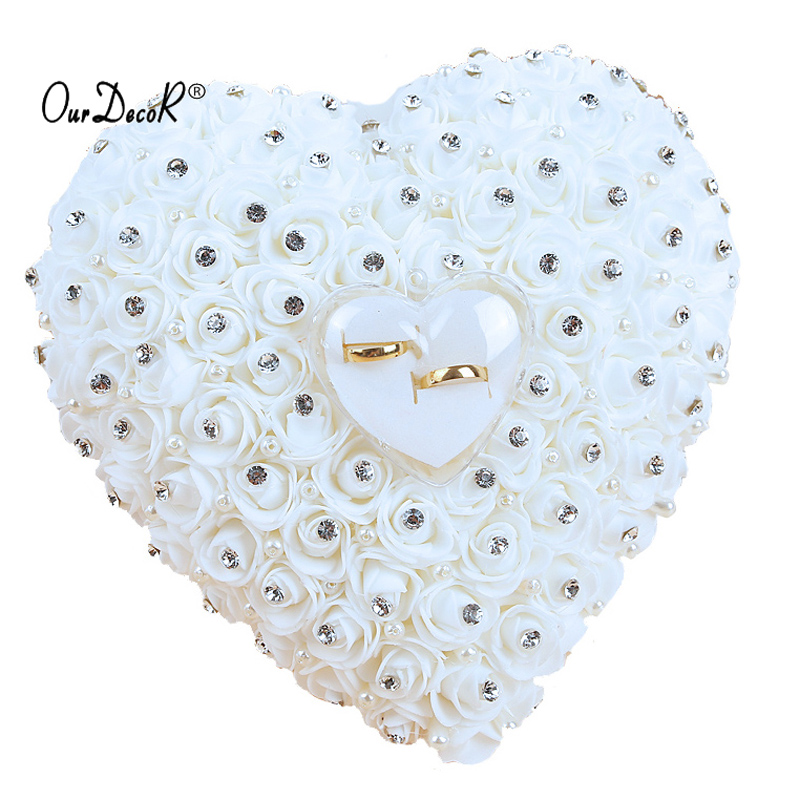 Bomboniere Hang Ring Cuscino con Transprent Box Heart Design con strass e perla decor Wedding Ring Cushion Decoration
