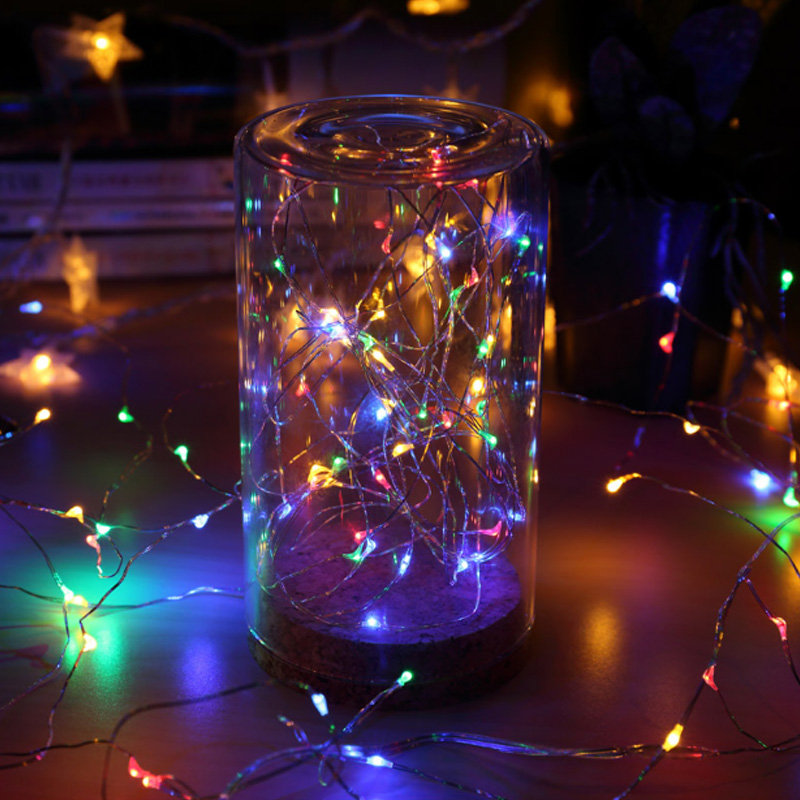 2M 20 LED Starry String Lights Fairy Mini LEDs DIY Copper Wire Battery Holiday Wedding Decoration Light for Christmas Glass