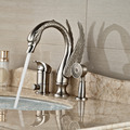 Luxury Brushed Nickel 3pcs Swan Tub Faucet Deck Mount Single Handle Bathtub Mixer Taps w/ Handshower