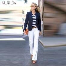 117568fa72f8 Chaqueta azul marino blanco Pantalones mujer trajes de negocios uniforme de  oficina femenina elegante 2 unidades