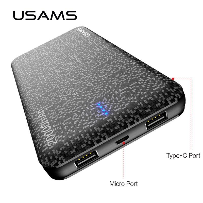 Universal 20000 mah puissance banque Portable Batterie, USAMS Mobile PowerBank USB Chargeur pour Xiaomi puissance banque pour Samsung S8