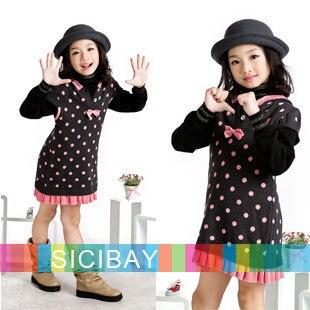 Girls  Sweaters Free Shipping Little Girls Long Sweaters Bow Dot Hooded Design,Kids Fashion Wear