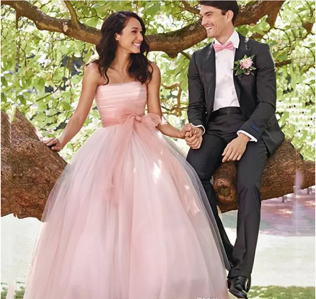 Fantasy Dusty Pink Long Wedding Dresses Princess Middle East Arabic Women  Party Dresses with Bow Sash Summer Garden Bridal Gowns 78ad47b65e08