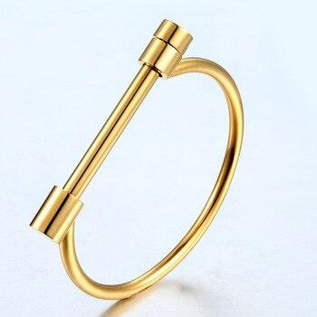 2017 Fashion Shackle Screw Bracelet Cuff Gold Colour Bangle Stainless Steel Bangles Bracelets For Women Love Bracelet Wholesale
