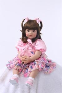 Bebe reborn ragazza del bambino bambole in vinile del silicone 24
