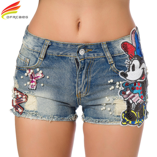 f07194e780 Verano 2018 mujeres pantalones cortos Casual bordado Flare Denim Shorts moda  alta cintura Jeans Shorts lentejuelas