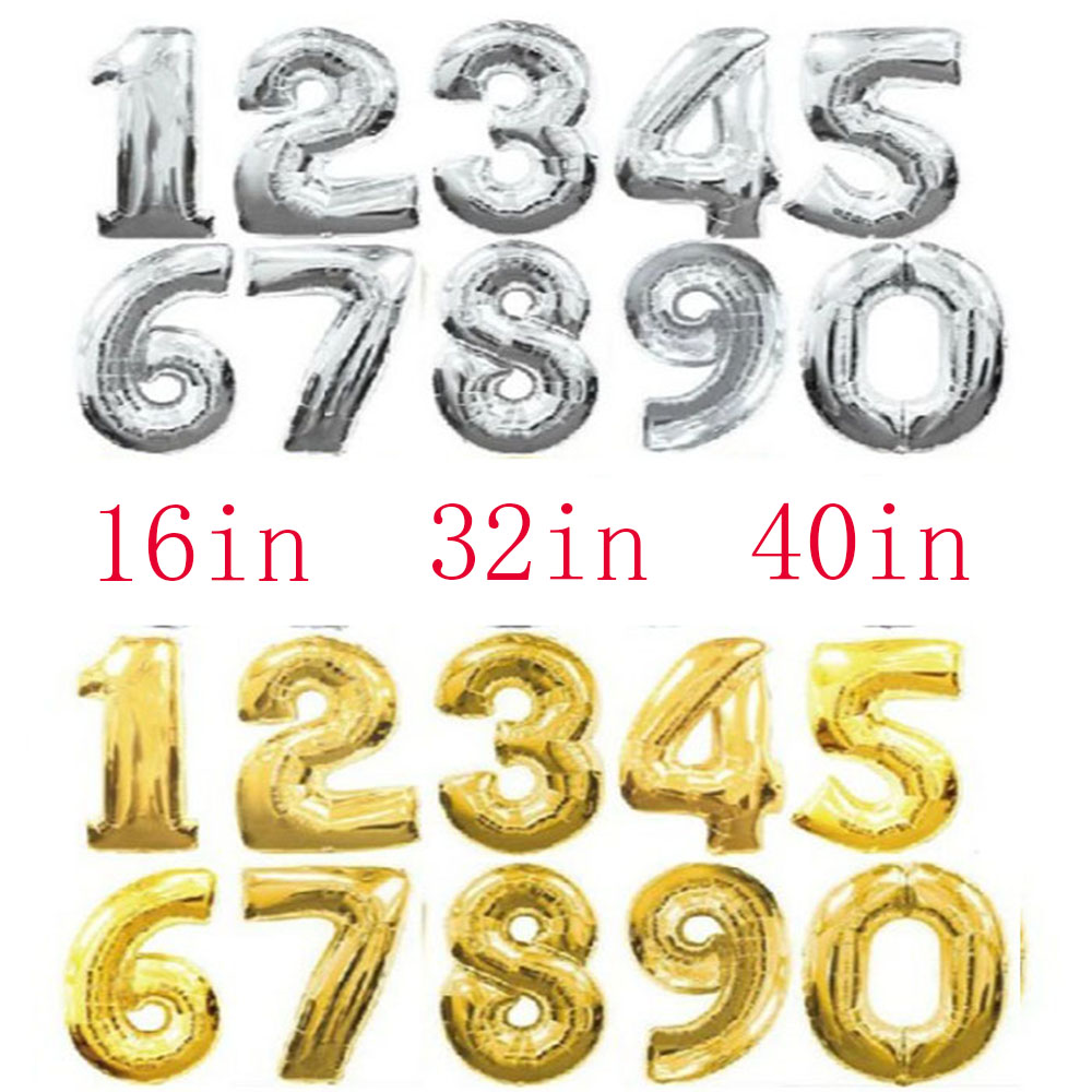 40/'/' Gold Number 0-9 Large Foil Balloons Helium Balloon Birthday Wedding Party