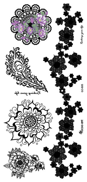 LS 505/Sexy White Tattoos Lace Mandala Flower Feather Henna Body Art ...