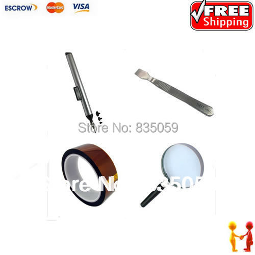 цены  Free shipping !! Best combination BGA accessories, for BGA reparing assistance. Scraper, tape, magnifier, vacuum suction pen