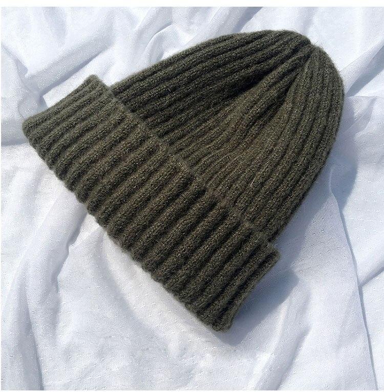 beanie women winter hats for women thick wool skullies beanies for ladies winter beanie hat solid pink black women hats winter hat  (1)